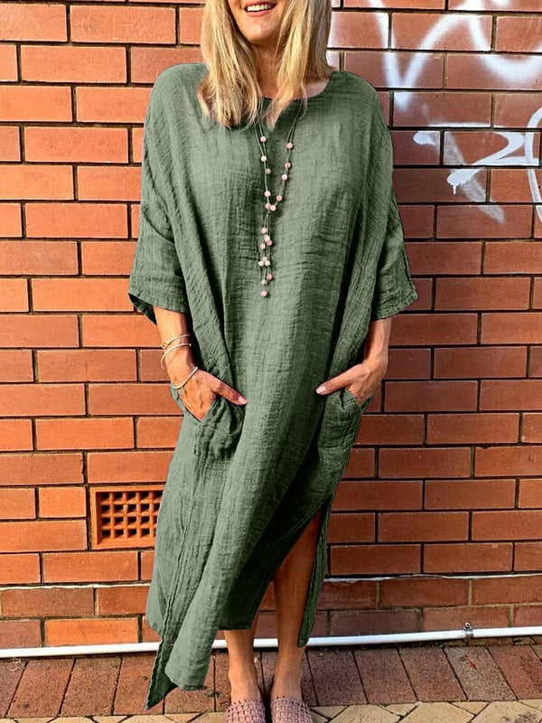 Women  Half Sleeve Solid  Loose Casual Midi Dress