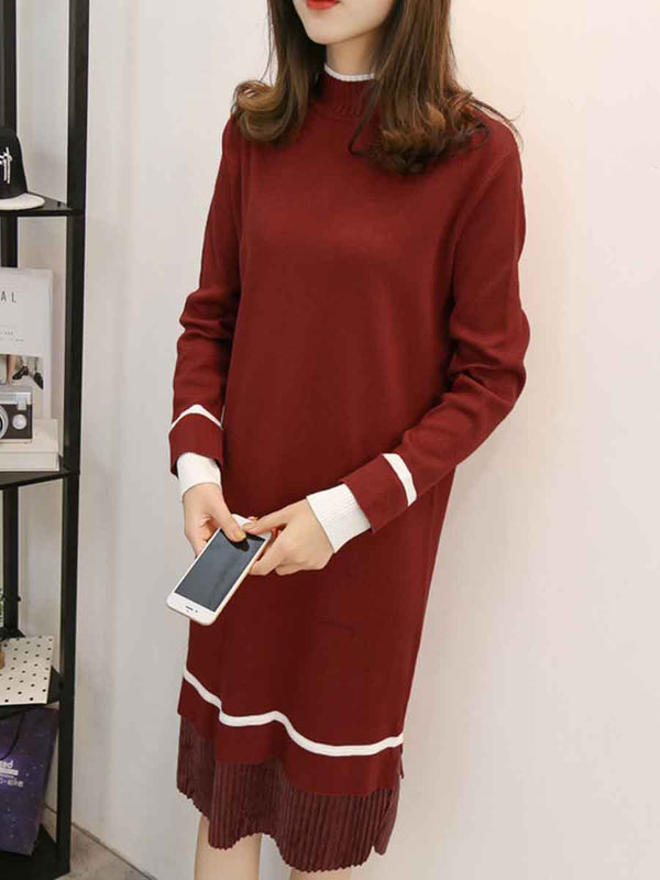 High waist long sleeve knit shift dress