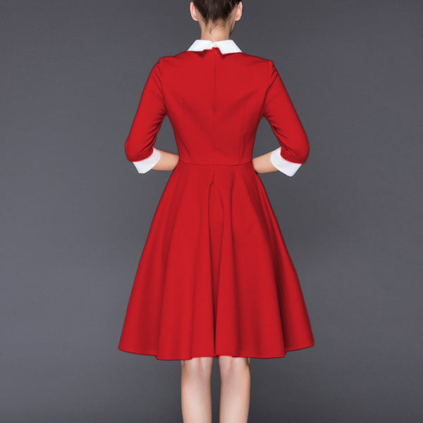 Women's stitching cropped sleeves doll collar tunic dress