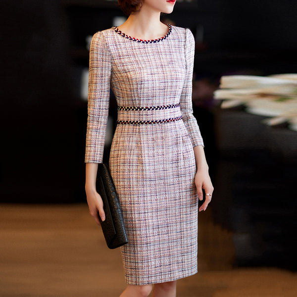 Elegant Tight-Fitting Solid Temperament Long-Sleeved Dress