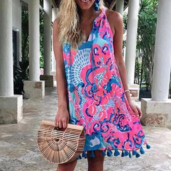 V Neck Sleeveless Bohemian Printed Tassels Casual Dresses