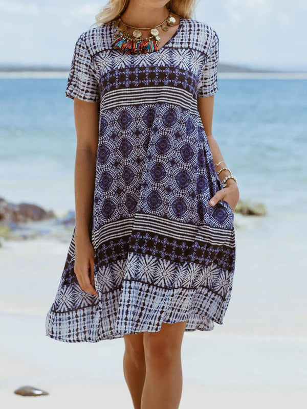 Cotton-Blend Short Sleeve Printed Dresses