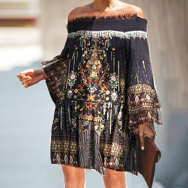 Romantic Printed One-Shoulder Lace Loose Dresses