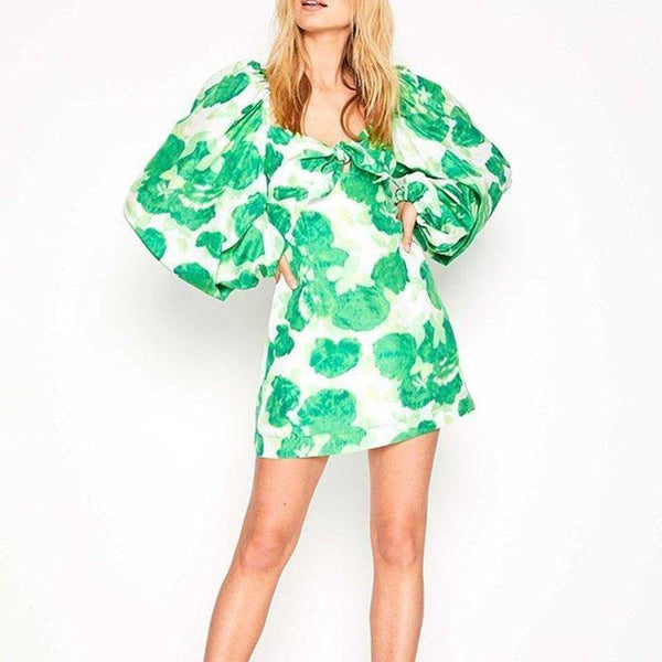 Casual V Neck Bubble Sleeves Printed Colour Dress