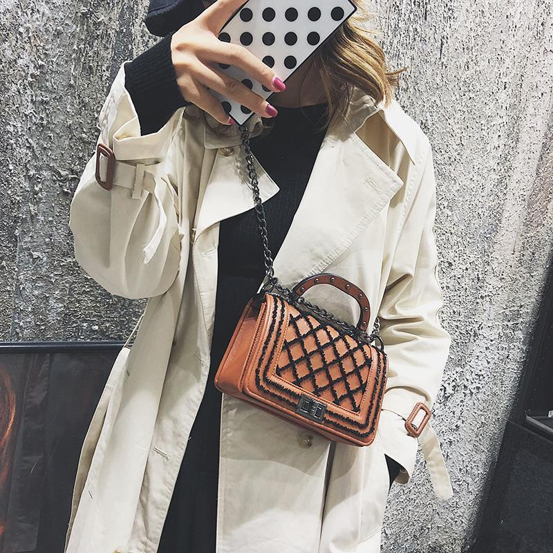 Fashion Casual Rectangle Rhombus Chain One Shoulder Hand Bag
