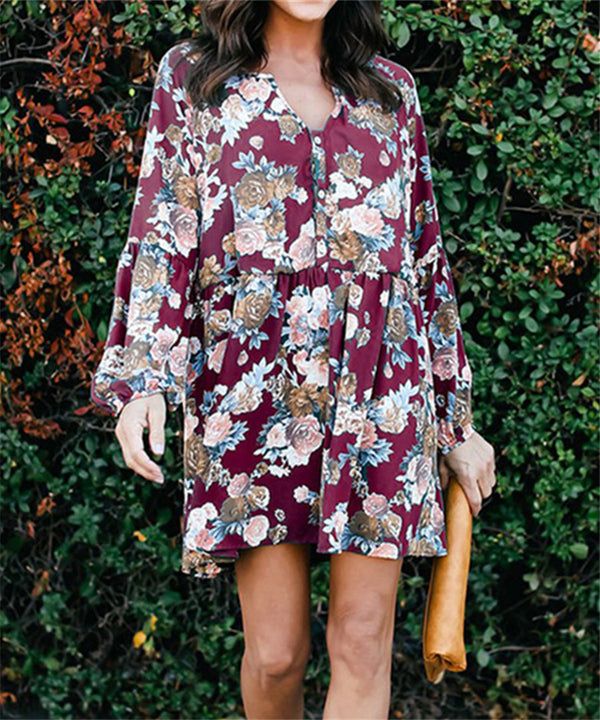 Fashion Long Sleeved Floral Dresses