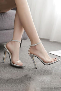 One-Letter Buckled Water Drill High Heel Sandals