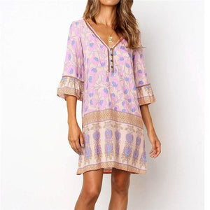 Sexy Fashion V-Neck Print Splicing Middle Sleeve Dress