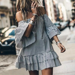 Sexy Fashion Stripe One-Word Collar Horn Sleeve Dress
