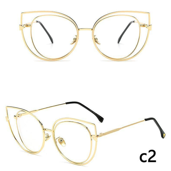 Gold Wire Frame Cat Eye Sunglasses