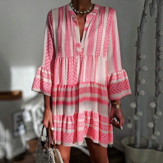 Printed Loose-Fashioned V-Neck Chiffon Pleated Mini Dress
