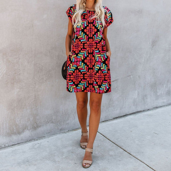 Short Sleeve Round Neck Print   Holiday Mini Dress