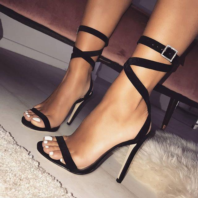 Cross Strap High Heel Sexy Rhinestone Sandals