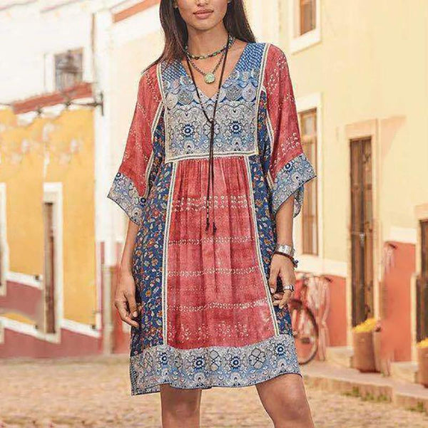 Half Sleeve V-Neck Print Casual Dress