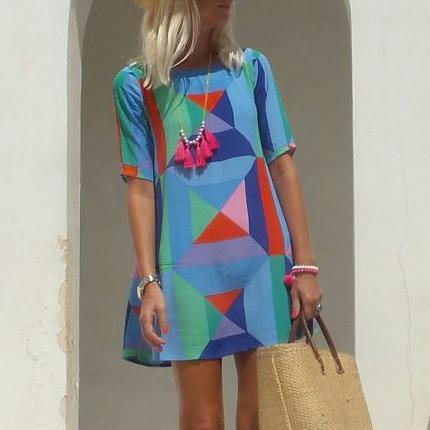 New Round Neck Geometric Contrast Print Dress