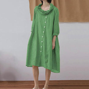 Casual Single-Breasted Long Sleeve Pure Colour Dress