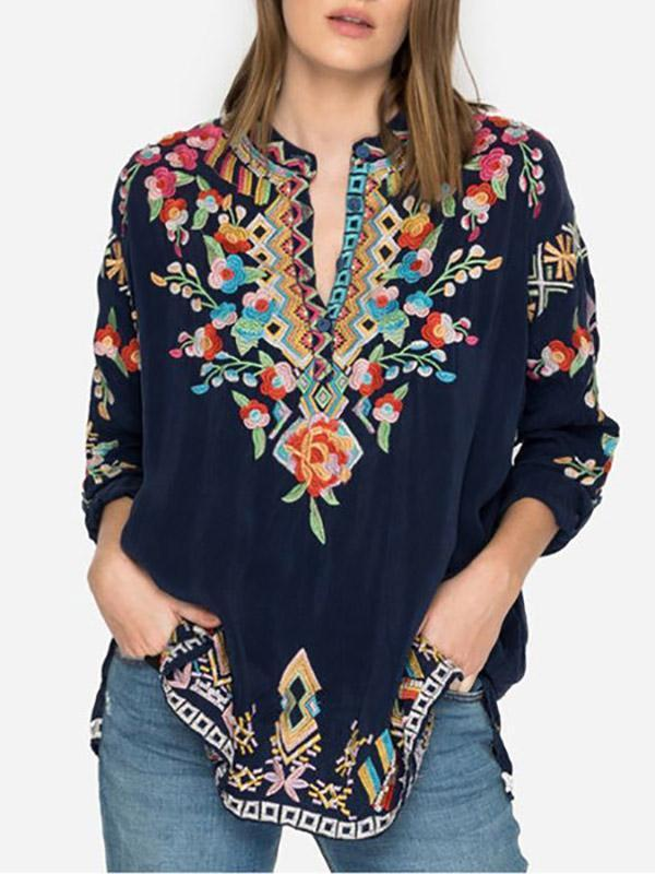 Women's Loose Casual Embroidered Long-Sleeved Shirt