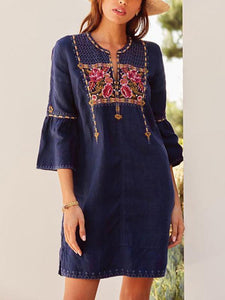 Women's Ethnic Style Embroidered Trumpet Sleeve Dress