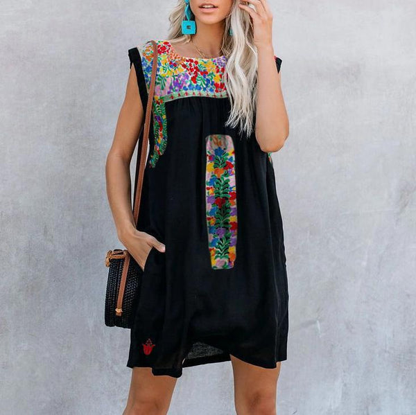 Round Neck Print Stitching Casual Dress