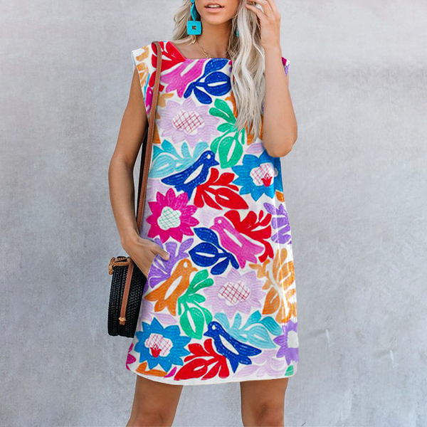 Summer New Square Collar Print Dress
