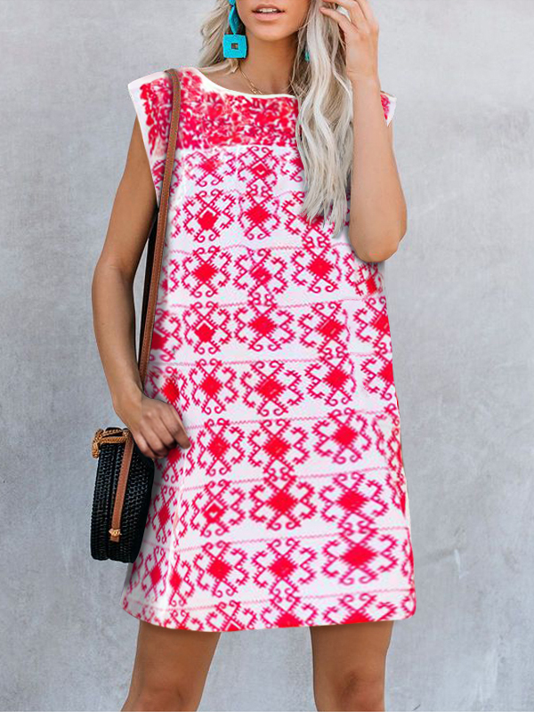 Round Neck Sleeveless Pattern Print Everyday Casual Dress