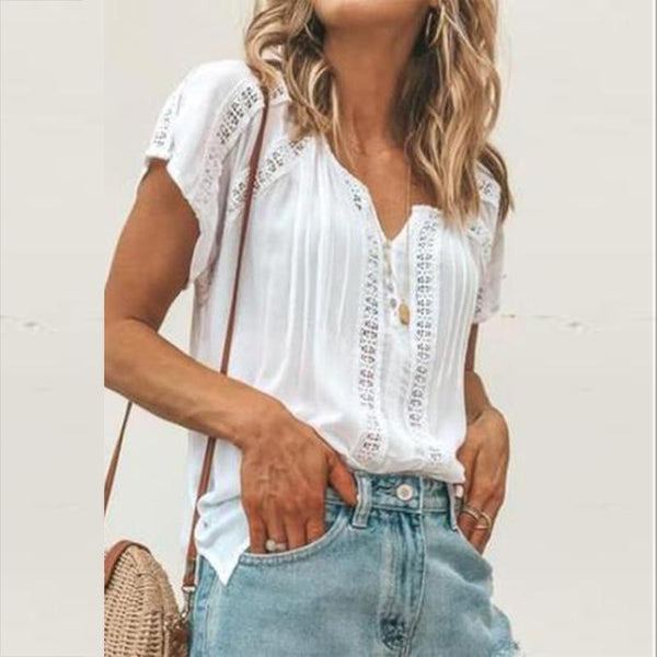 Lace Splicing Hollow Out T-Shirt