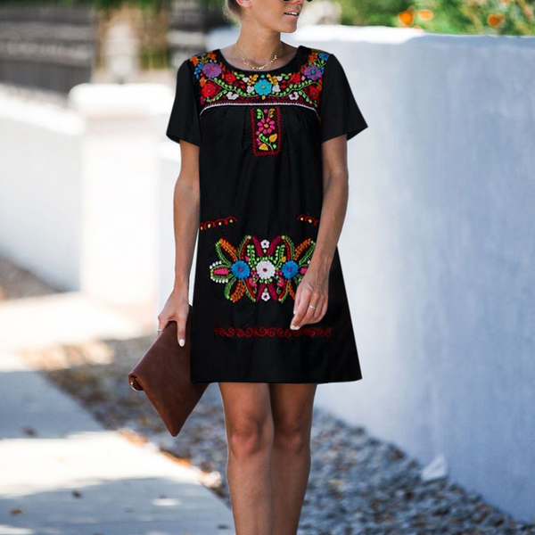 Women's Embroidered Print Short Sleeve Mini Dress