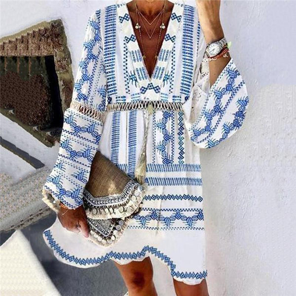 Women's V-Neck Cutout Print Long Sleeve Dress