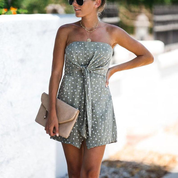 Women's Sexy Off The Shoulder Polka Dot Mini Dress