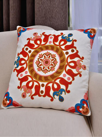 Vintage Ethnic Style Embroidered Pillowcase,45CM*45CM