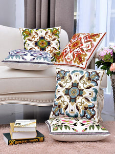 Vintage Ethnic Style Flowers Pattern Pillowcase,45CM*45CM