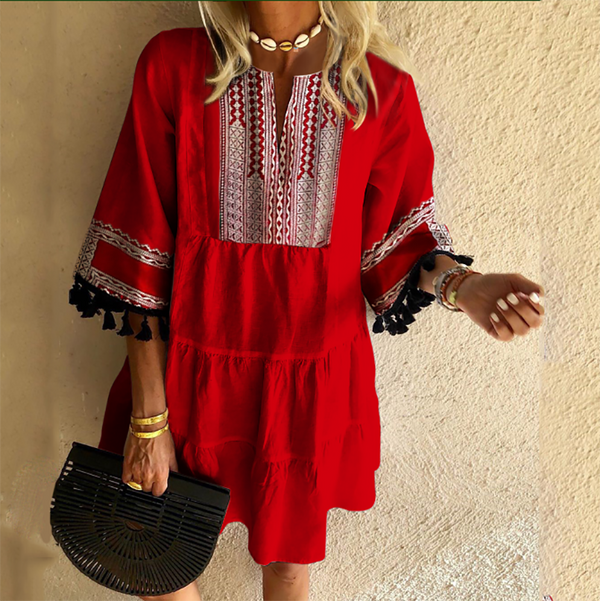 Women's Bohemian Print Fringe Dress