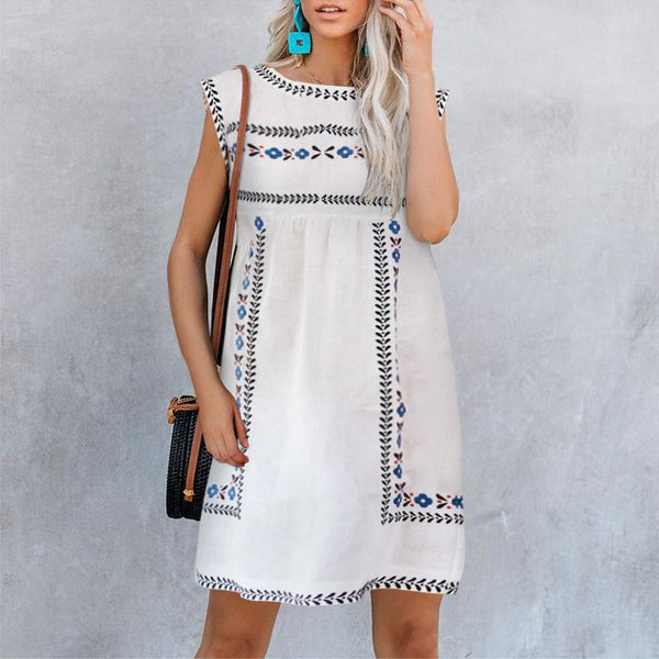 Fashion Round Neck Print Short Sleeve Dress