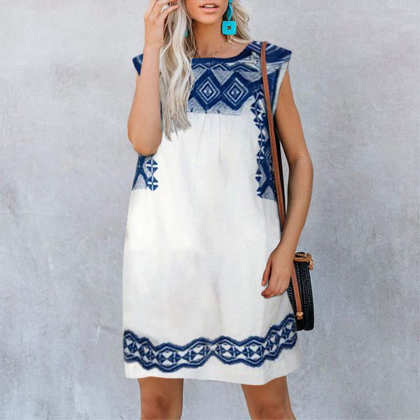 Casual Printed Sleeveless V Neck Dress