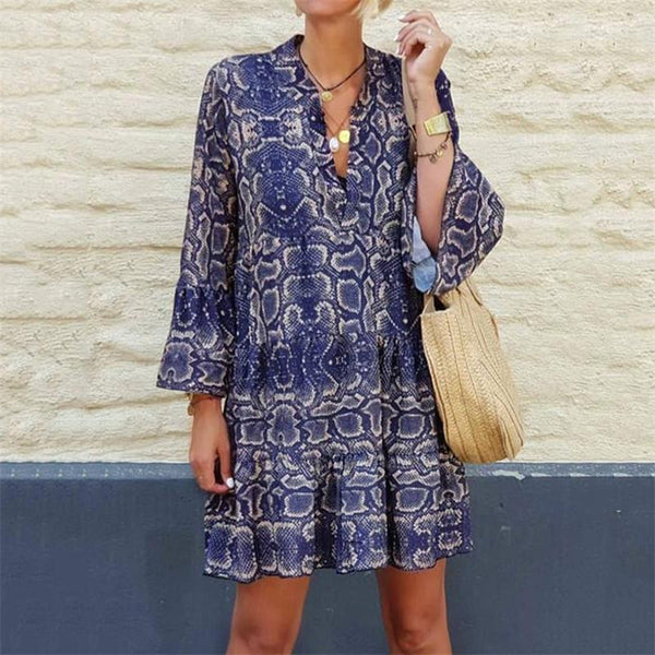 Women's V-Neck Long-Sleeve Snake Dress
