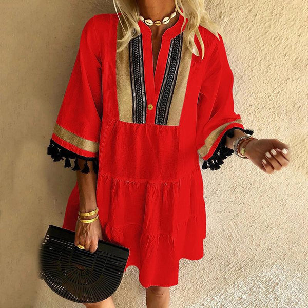 Casual V Neck Patchwork Dress
