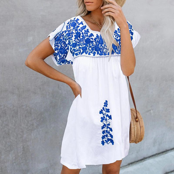 Casual Round Neck Short Sleeve Printed Colour Dress