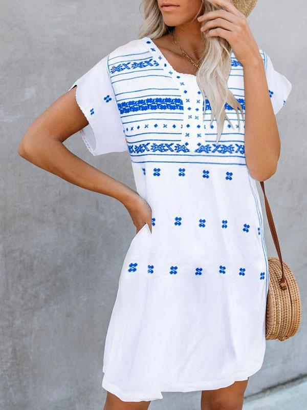 Casual Round Neck Print Loose Dress
