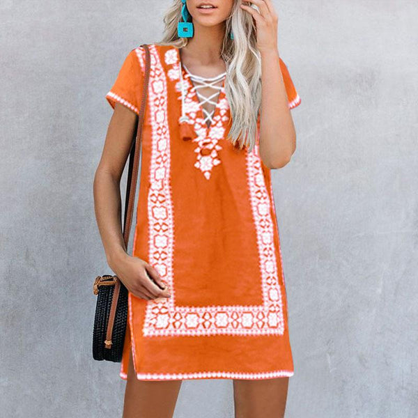 Casual V-Neck Short-Sleeved Embroidered Dress