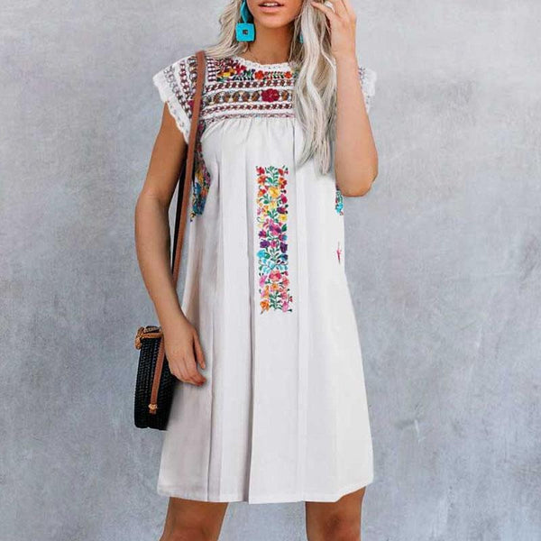 Casual Round Neck Sleeveless Embroidered Dress