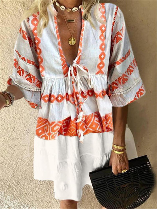 Fashion V-Neck Printed Five-Points Sleeve Loose Dresses