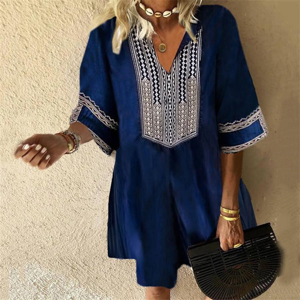 Bohemian Printed Folded Collar Five-Sleeve Loose Dresses