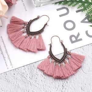 Vintage Colorful Charm Long Fringe Earrings
