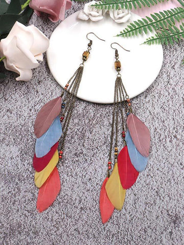 Fashion Personalized Feather Chain Earrings