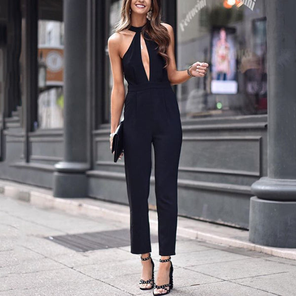 Casual Pure Color Sleeveless Jumpsuits