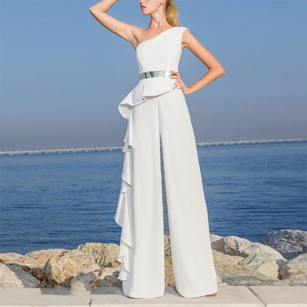 Fashion Pure Color Sloping Shoulder Layered Jumpsuit