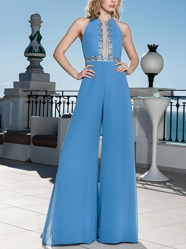 Casual Sleeveless Pure Color Wide Leg Jumpsuits