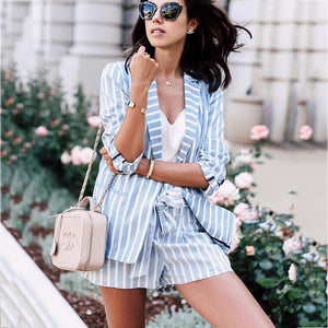 Classy Splicing Striped Lace-Up Suits