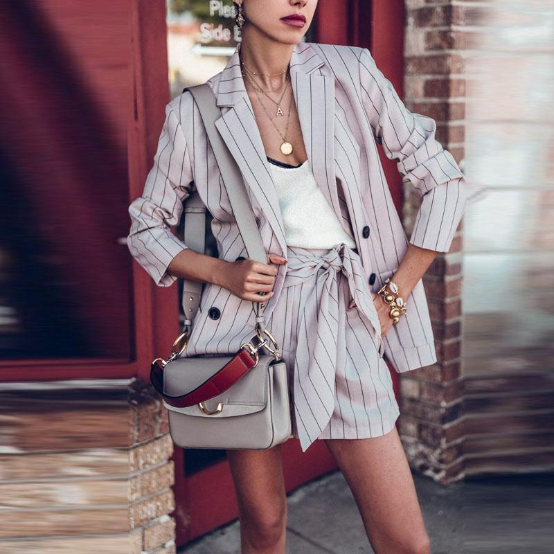 Casual Striped Long-Sleeved Suit Jacket And Shorts Suit