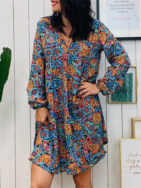 Boho Loose V-Neck Long Sleeve Printed Midi Dress